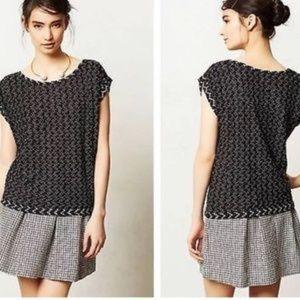ANTHROPOLOGIE Postmark Black White Knit Shirt XS